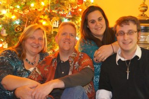 Me, my husband John, my daughter Kate, and my son Tim on Christmas Day 2012