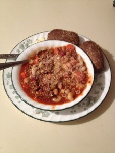 Pasta E Fagioli with warm pumpernickel dinner rolls